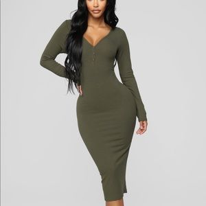 Fashion nova olive midi dress